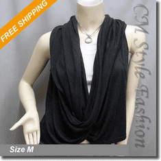 Ruched Drapey Twisted Fashion Vest Top Dark Gray