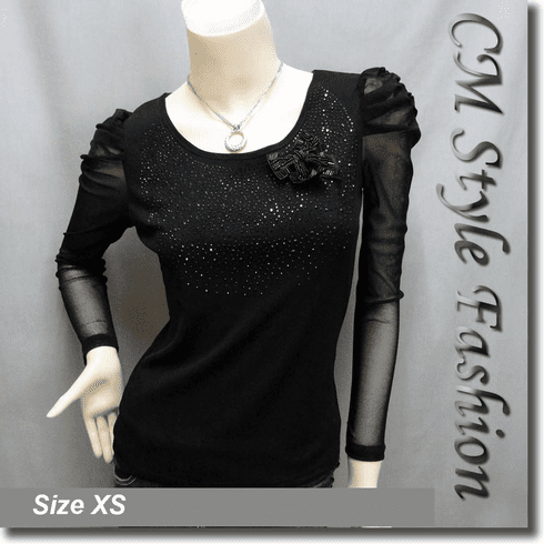 Ruched Shoulder Sequined Sheer Sleeve Boho Top Black