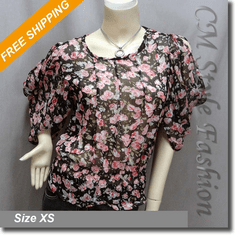 Ruched Sleeves Chiffon Floral Cropped Boho Top Black