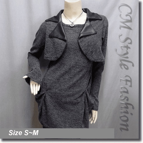 Ruched Tunic Sweater Top Gray / Grey