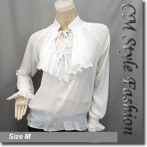 Ruffle Chiffon Blouse Top White