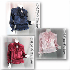 Ruffle Satin Blouse Top Series