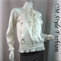 Ruffle Women Satin Blouse Top White