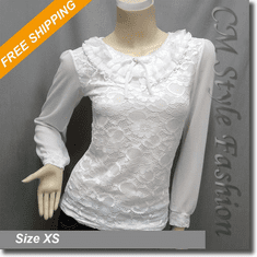 Ruffled Collar Lace Princess Boho Blouse Top White