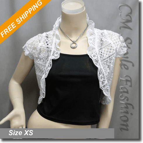 Ruffled Crochet Lace Sheer Bolero Topper Off White