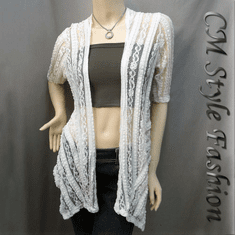 Ruffled Flowy Gossamer Mesh Cardigan Off White