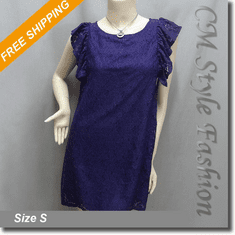 Ruffled Lace Girly Smock Tunic Dress Top Purple