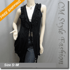 Ruffled Ruched Front Tie Layering Vest Top Black
