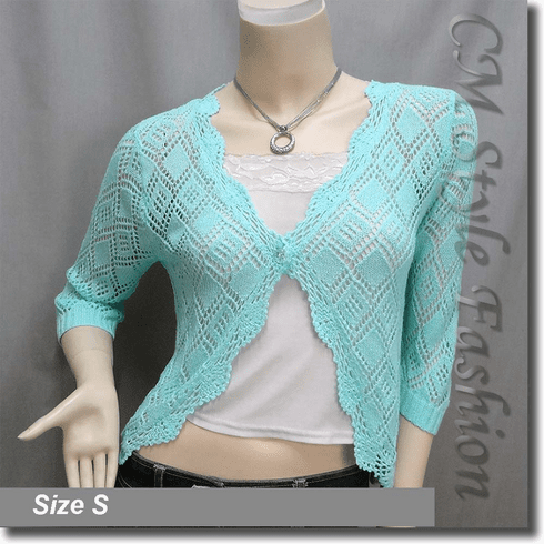 Scallop Edge Crochet Knit Cardigan Sweater Top Aqua