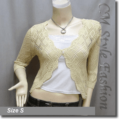 Scallop Edge Crochet Knit Cardigan Sweater Top Beige