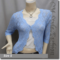 Scallop Edge Crochet Knit Cardigan Sweater Top Blue