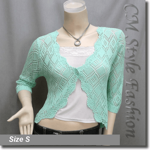 Scallop Edge Crochet Knit Cardigan Sweater Top Green