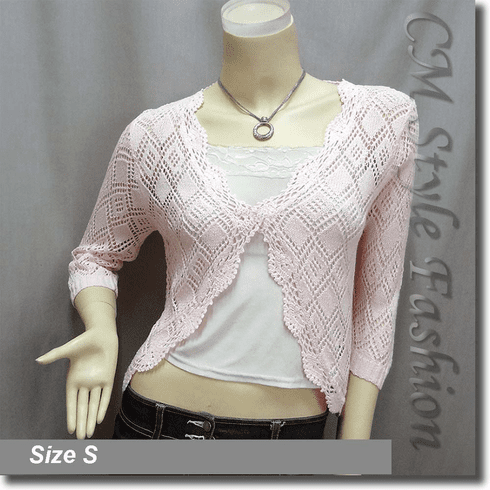Scallop Edge Crochet Knit Cardigan Sweater Top Light Pink