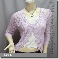 Scallop Edge Crochet Knit Cardigan Sweater Top Light Purple
