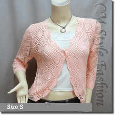 Scallop Edge Crochet Knit Cardigan Sweater Top Orange