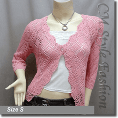 Scallop Edge Crochet Knit Cardigan Sweater Top Pink