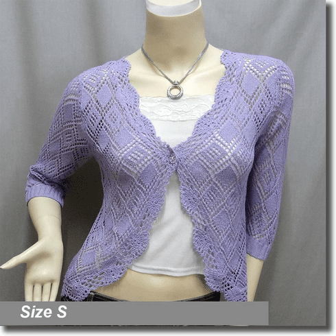 Scallop Edge Crochet Knit Cardigan Sweater Top Purple