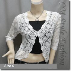 Scallop Edge Crochet Knit Cardigan Sweater Top White