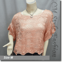 Scallop Edge Knit Mesh Sweater Top Pink