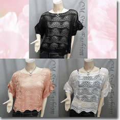 Scallop Edge Knit Mesh Sweater Top Series