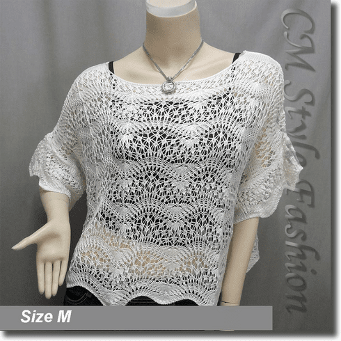 Scallop Edge Knit Mesh Sweater Top White