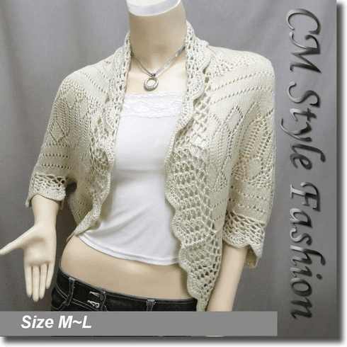 Scallop Eyelet Knit Shrug Cardigan Sweater Top Beige