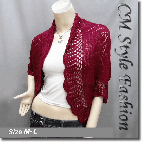Scallop Eyelet Knit Shrug Cardigan Sweater Top Burgundy