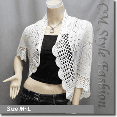 Scallop Eyelet Knit Shrug Cardigan Sweater Top Off White