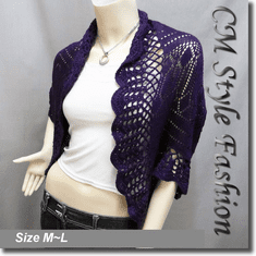 Scallop Eyelet Knit Shrug Cardigan Sweater Top Purple