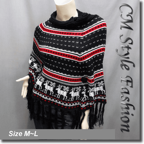 Scandinavian Folk Deer Pattern Fringe Knit Poncho Wrap Black White Red
