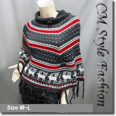 Scandinavian Folk Deer Pattern Fringe Knit Poncho Wrap Gray White Red
