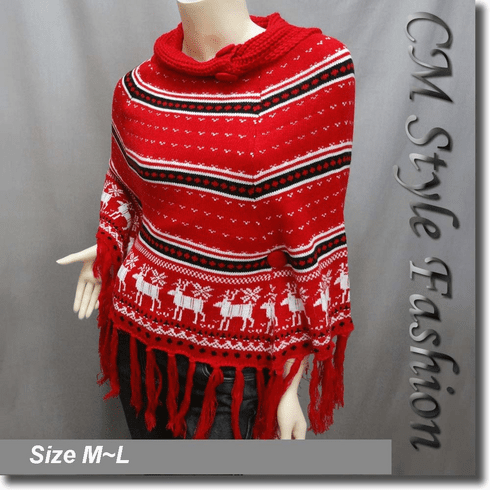 Scandinavian Folk Deer Pattern Fringe Knit Poncho Wrap Red White Black