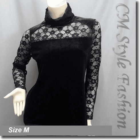 See Through Lace Sleeves Turtleneck Velvet Blouse Top Black