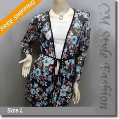 Semi Sheer Floral Print Flowy Tie Waist Cardigan Top Blue