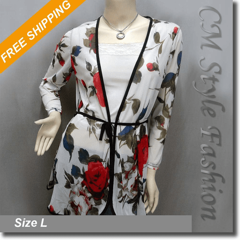 Semi Sheer Floral Print Flowy Tie Waist Cardigan Top White
