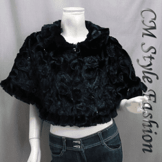 Sequin Applique Floral Faux Fur Cape Wrap Black