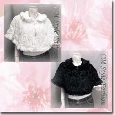Sequin Applique Floral Faux Fur Cape Wrap Series