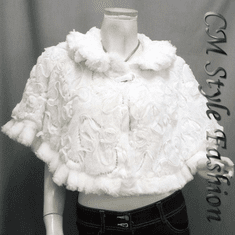 Sequin Applique Floral Faux Fur Cape Wrap White