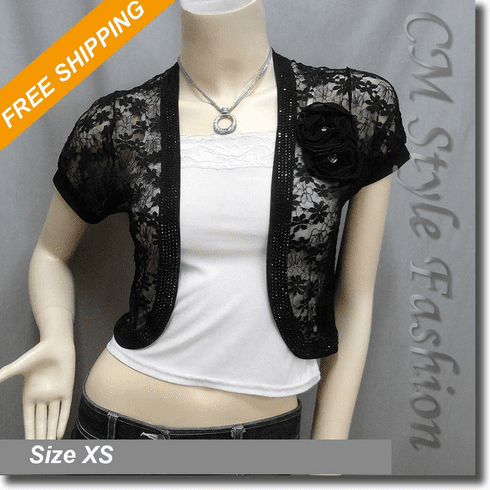Sequin Applique Floral Lace Bolero Crop Cardigan Top Black