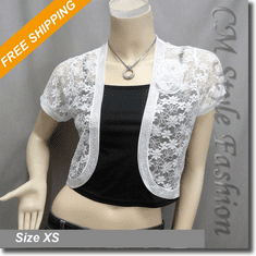 Sequin Applique Floral Lace Bolero Crop Cardigan Top White