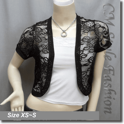 Sequin Applique Floral Lace Bolero Crop Top Black