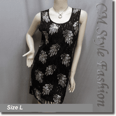 Sequin Beaded Embroidery Stretchy Dress Top Black