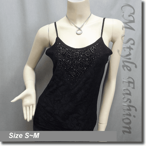 Sequin Beaded Lace Gossamer Camisole Top Black
