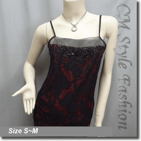 Sequin Beaded Lace Gossamer Camisole Top Black Red