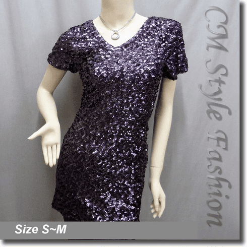 Sequin Bling Bling Paillette Embellished Tunic Mini Dress