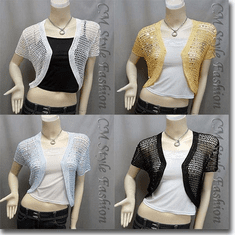 Sequin Crochet Shrug Bolero Topper