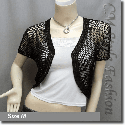 Sequin Crochet Shrug Bolero Topper Black