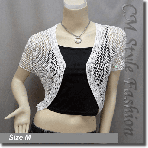 Sequin Crochet Shrug Bolero Topper White