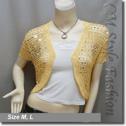 Sequin Crochet Shrug Bolero Topper Yellow