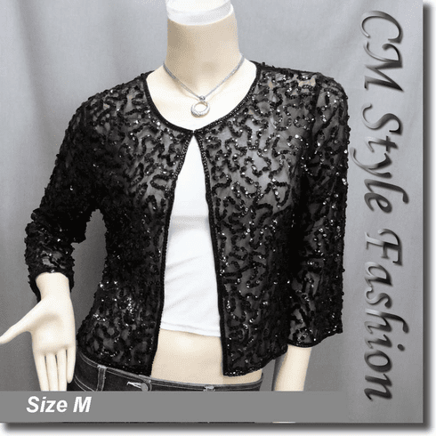 Sequin Embroidered Bolero Shrug Top Black